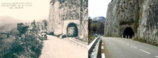 Tunneleingang damals und heute